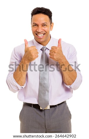excited business man giving thumbs up on white background - stock photo