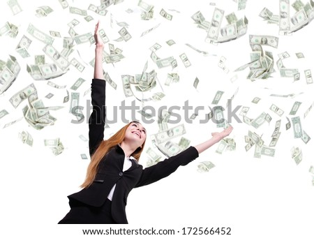Excited Business woman happy look up forward under a money rain - isolated over a white background - stock photo