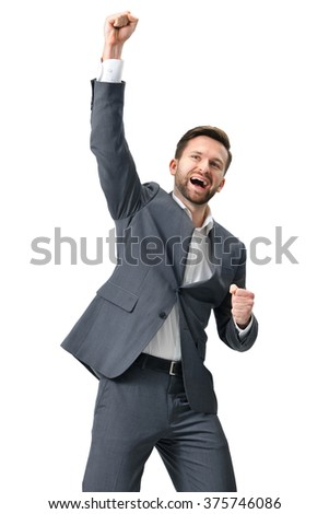 Excited businessman celebration success. Isolated on white background