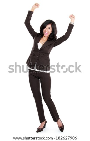 Excited businesswoman very Excited. happy asian business woman isolated in full length on white background.