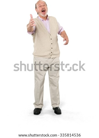 Excited Caucasian elderly man with short grey hair in casual outfit pointing using palm - Isolated