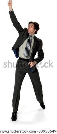 Excited Caucasian man with short dark brown hair in business formal outfit celebrating - Isolated