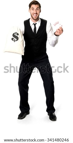 Excited Caucasian man with short dark brown hair in business formal outfit holding money bag - Isolated - stock photo