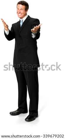 Excited Caucasian man with short medium blond hair in business formal outfit pointing using palm - Isolated