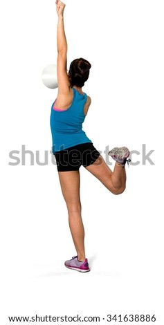 Excited Caucasian woman black in athletic costume using megaphone - Isolated