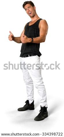 Excited Caucasian young man with short medium brown hair in casual outfit cheering - Isolated - stock photo