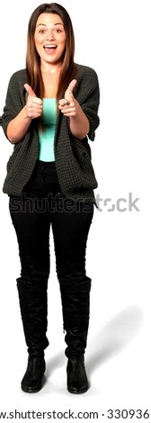 Excited Caucasian young woman with long medium brown hair in casual outfit cheering - Isolated - stock photo