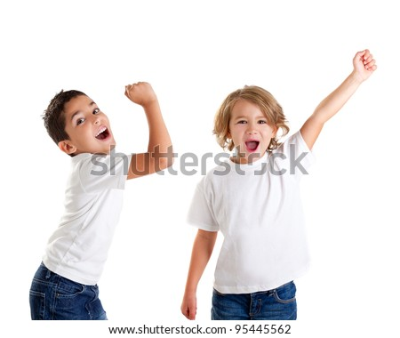 excited children kids happy screaming and winner gesture expression on white [photo illustration]
