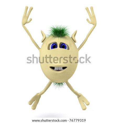 Excited 3D character puppet with arms up - stock photo