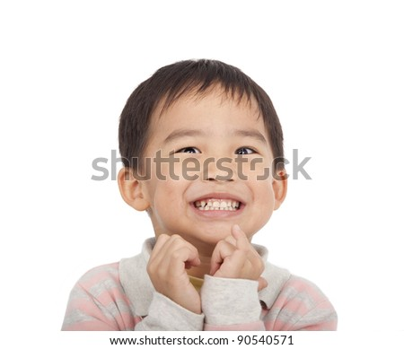 Excited face of asian boy - stock photo