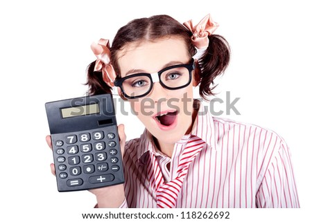 Excited Female Business Person Holding Accounting Calculator In A Depiction Of Cost Cutting On White Background - stock photo