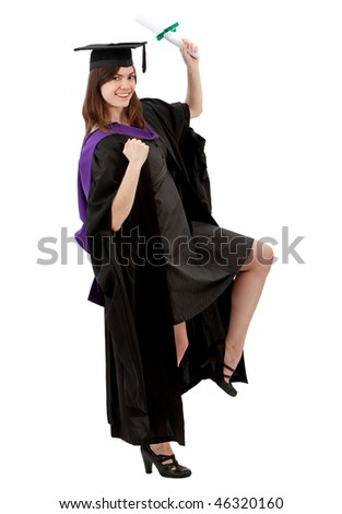 Excited female graduate smiling and showing her diploma