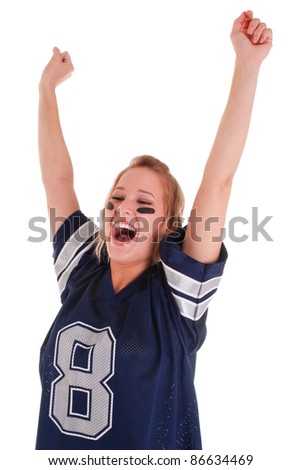 Excited football fan watching sport isolated on white background - stock photo