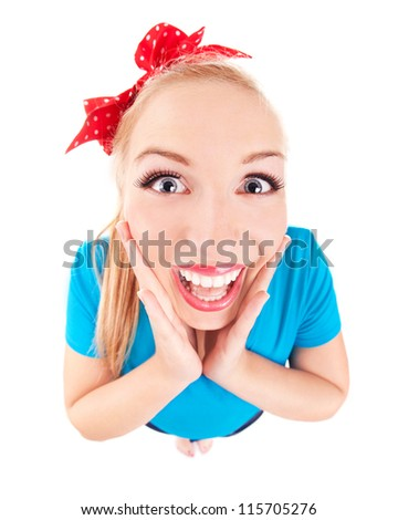Excited funny girl isolated on white, fish eye lens shot - stock photo