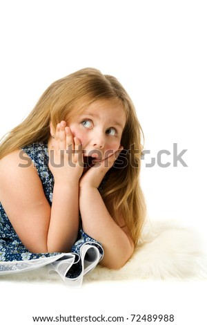 Excited girl making shocked face isolated on white - stock photo