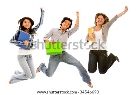 Excited group of students jumping, isolated over white