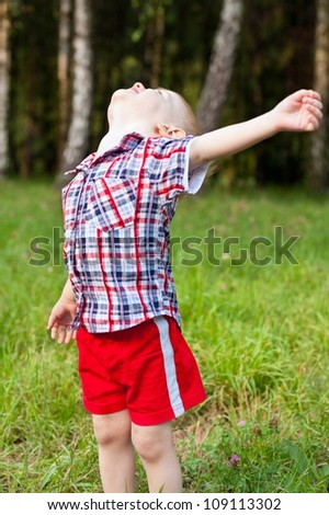 Excited happy child playing outdoor raised his head up with hand outstretched in the summer park - stock photo