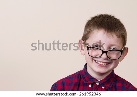 Excited Happy smiling little boy.Facial expression. - stock photo