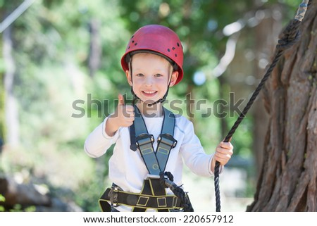 excited little boy enjoying climbing at adventure park - stock photo