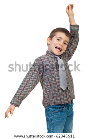 Excited little boy shouting and holding a hand up isolated on white background - stock photo