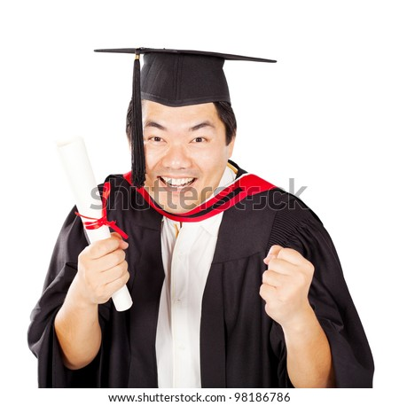 excited male chinese graduate with diploma isolated on white - stock photo