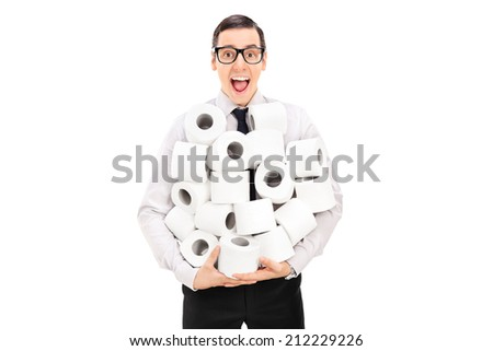 Excited man holding a pile of toilet paper isolated on white background - stock photo