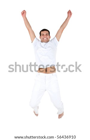 Excited man jumping and wearing white clothes - isolated - stock photo