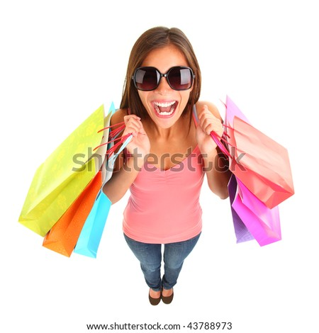 Excited shopping woman in fish eye view isolated on white background. Full length.