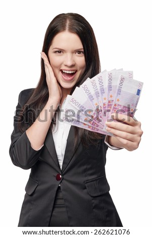 Excited surprised business woman giving you euro money, over white background  - stock photo