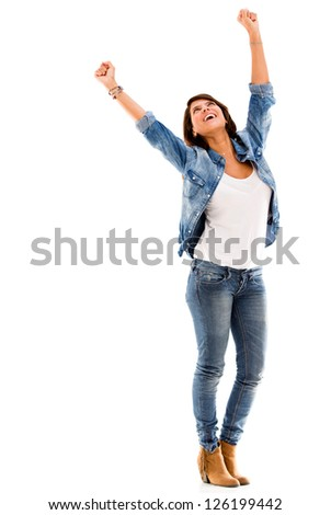 Excited woman celebrating with arms up - isolated over a white background - stock photo