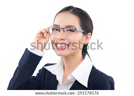 Excited woman looking sideways. Closeup of happy Asian female business woman isolated on white background. - stock photo