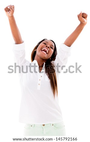 Excited woman with arms up - isolated over a white background - stock photo