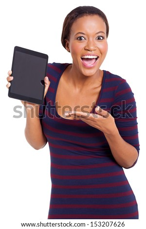 excited young african woman presenting tablet computer isolated on white background - stock photo