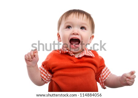 Excited Young Baby Boy isolated over white - stock photo