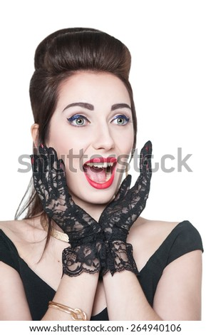 Excited young beautiful girl in retro pin up style isolated over white - stock photo
