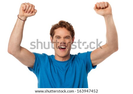 Excited young handsome isolated over white - stock photo