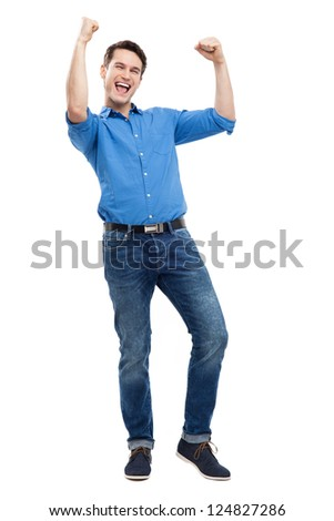 Excited young man - stock photo