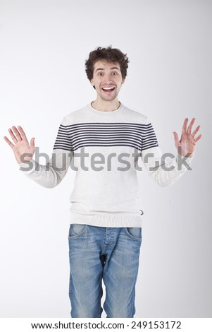 Excited Young Man. - stock photo