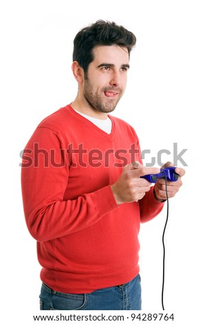 Excited young man playing video games. Isolated on white - stock photo