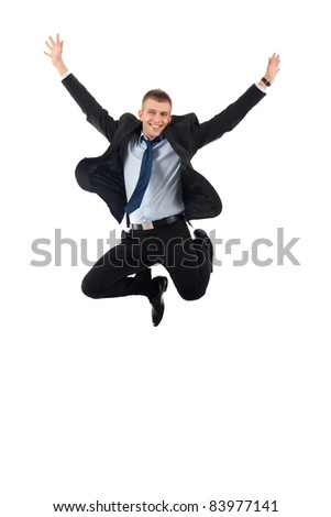 Excitement of business - Isolated shot of an extremely excited business man. - stock photo