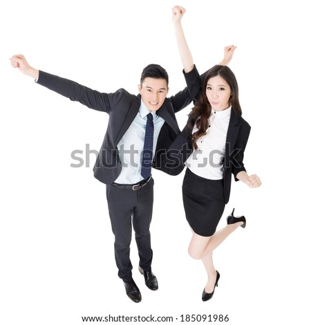 Exciting business man and woman, full length portrait isolated on white background. - stock photo