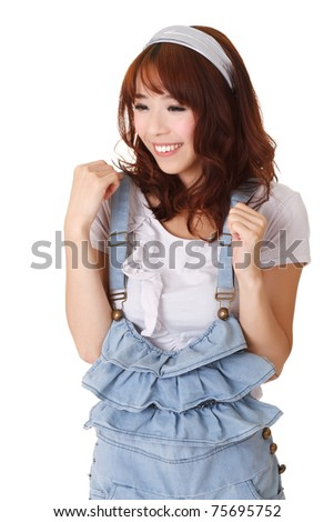 Exciting Chinese girl, half length closeup portrait on white background.