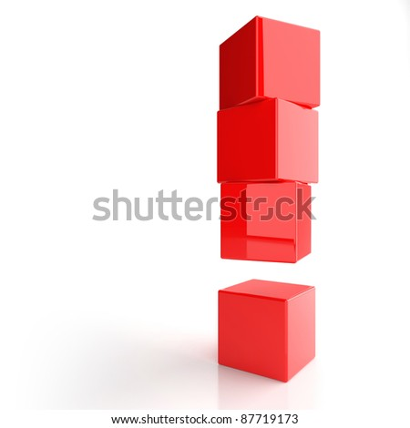 Exclamation mark from red boxes - stock photo