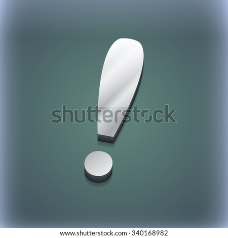 Exclamation mark icon symbol. 3D style. Trendy, modern design with space for your text illustration. Raster version - stock photo