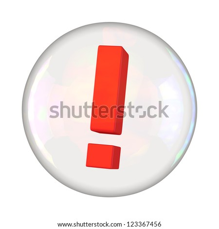 Exclamation mark in soap bubble - stock photo