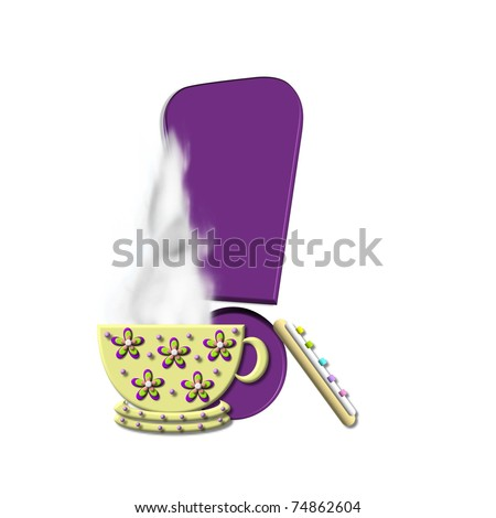 "Exclamation mark, in the alphabet set ""Cup of Joe"" , is decorated with a porcelain cup of coffee with steam rising from the rim.  Letters are purple."