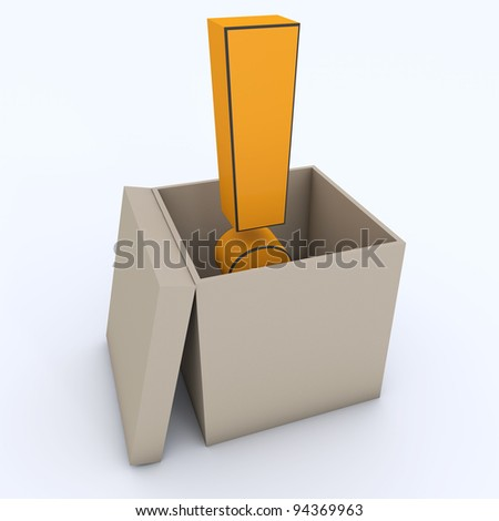 Exclamation mark in the box - stock photo