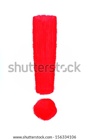 Exclamation mark on a white background