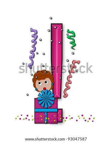 """Exclamation Point, in the alphabet set """"Birthday Letters"""", is surrounded by colorfully wrapped presents complete with bows.  Woman hides behind presents and peeks out pretending surprise. - stock photo"""
