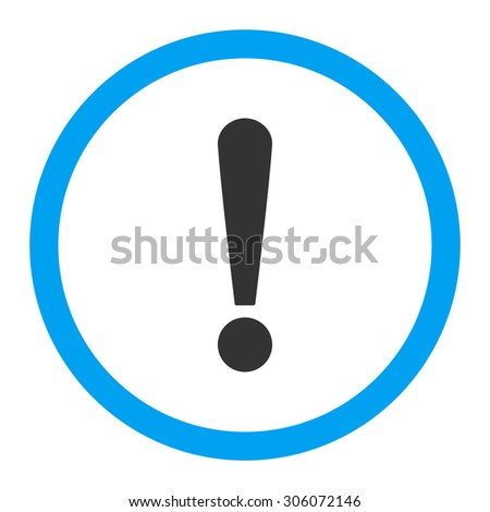 Exclamation Sign raster icon. This rounded flat symbol is drawn with blue and gray colors on a white background.